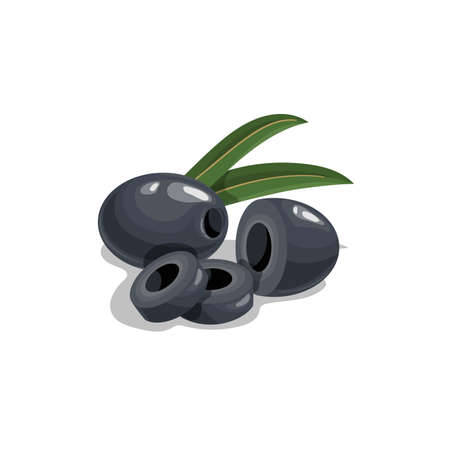 Black pitted olives with cuts and leaves in cartoon style. Flat simple design element for packaging, logos and other olive products. Vector illustration isolated on white. Иллюстрация