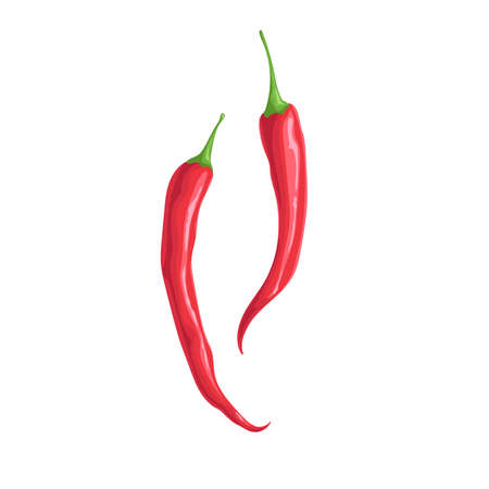 Hot red chili peppers. Hot burning vegetable. Flat cartoon design style. Group cayenne peppers vector illustration isolated on white background.