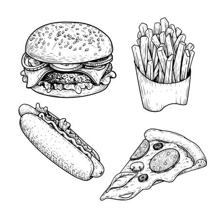 Fast food sketch set. Hamburger, french fries, hot dog and pepperoni pizza slice. Hand drawn illustrations for restaurant menu in vintage style. Isolated on white background.