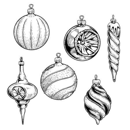 Christmas decorations in sketch style. Hand drawn ornaments. Glass balls and icicles. Seasonal winter collection. Vector illustrations isolated on white background.