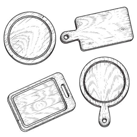 Hand drawn cutting wooden boards set. Sketch style kitchen utensils. Top view. Round and rectangular, with handle. Vector illustrations vintage collection. Stock Illustratie
