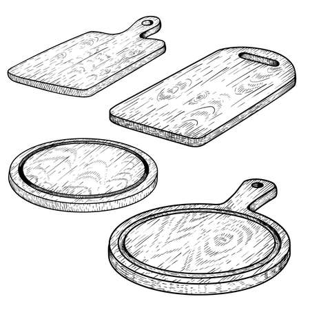 Hand drawn cutting wooden boards set. Sketch style kitchen utensils. Round and rectangular, with handle. Vector illustrations vintage collection. Stock Illustratie
