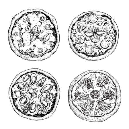 Hand drawn pizza. Top view. Sketch style. Margarita, with salami and mushrooms, Frutti di Mare (seafood) pizza and Prosciutto crudo pizza. Traditional Italian food. Best for menu and package.