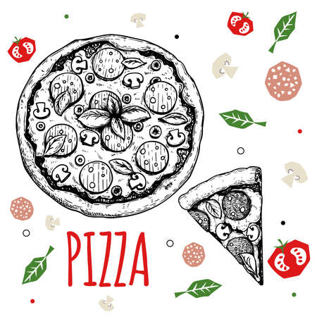 Hand drawn pizza Pepperoni design template. Sketch style traditional Italian food. Doodle flat ingredients. Whole pizza and slice. Best for menu, poster and flyers design. Vector illustration. Stock Illustratie