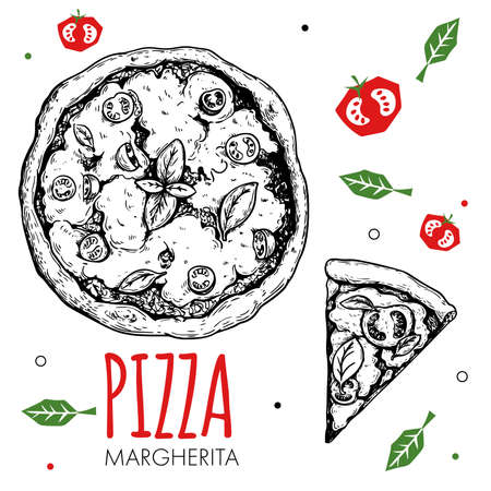 Hand drawn pizza Margherita design template. Sketch style traditional Italian food. Doodle flat vegetables. Whole pizza and slice. Best for menu, poster and flyers design. Vector illustration. Stock Illustratie