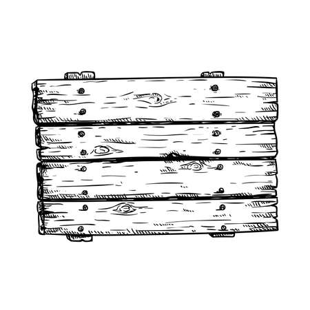 Hand drawn sketch style wooden signboard. Wooden rectangular plank. Best for invitations, game, blogs design. Vector illustration.
