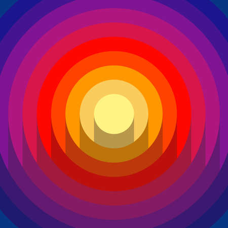 Abstract 3d papercut with shades gradient circles background. Yellow, pink, red and blue colors. Vector modern design.