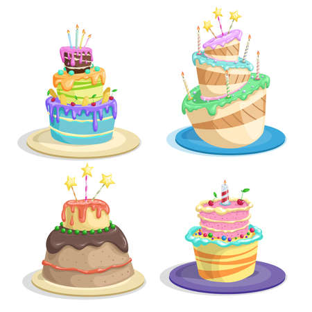 Cartoon birthday cakes set. Funny flat style. cakes with chocolate, candles, sweet cream and icing, Vector illustrations isolated on white.