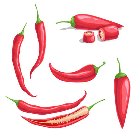Chili pepper set in cartoon flat style. Different type of hot spicy vegetables. Whole and cut. Cayenne peppers. Vector illustrations isolated on white background.