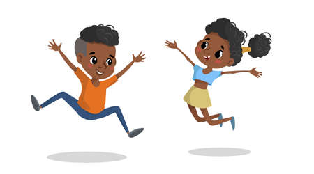 Happy children jumping and laughing. African american school age children illustration. Best for posters, banners, invitations. Vector drawing isolated on white.