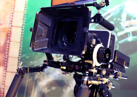 Video camera while filming Stock Photo