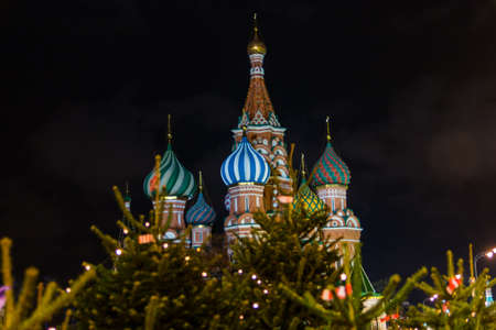 The night temple of St. Basil the Blessed on the red square near the Kremlin