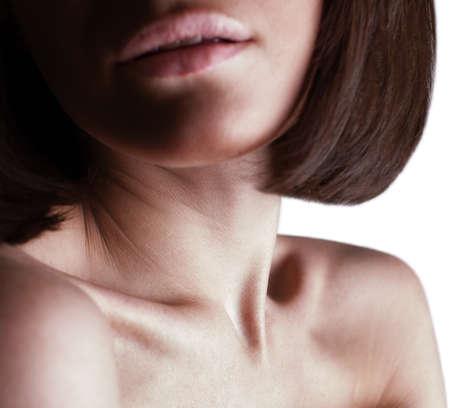 collarbone: beautiful girl lips, neck and shoulders