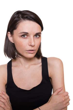 interrogativa: chica con expresión triste Foto de archivo