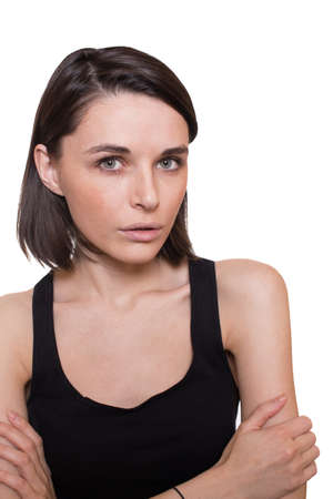 girl with unhappy expression photo