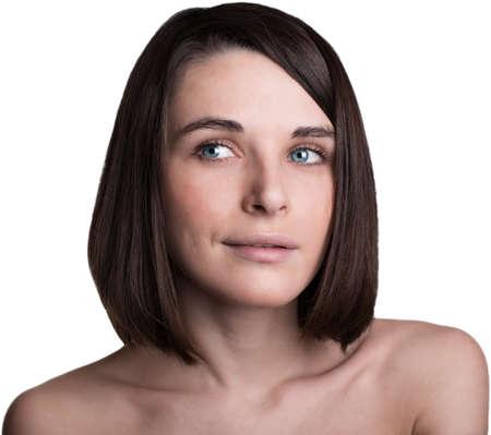 jeune fille adolescente nue: belle jeune fille regardant sur le c�t� Banque d'images