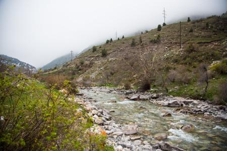 Tian Shan Mountain river in Kyrgyzstan Stock Photo