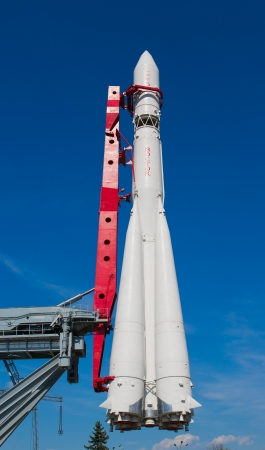 Soviet rocket used to launch a first man into space. Exposition on VDNH - exhibition center in Moscow, Russia