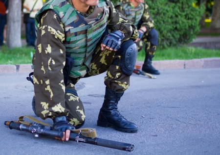 kyrgyz republic: soldiers with guns Military parade Bishkek, Kyrgyz Republic Editorial