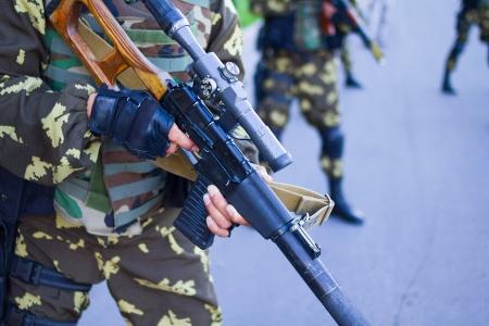 soldiers with guns Military parade Bishkek, Kyrgyz Republic