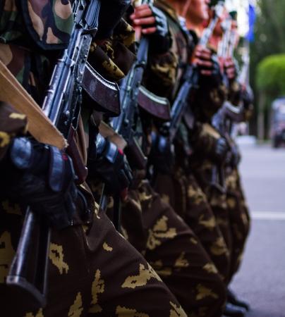 soldiers with guns Military parade Bishkek, Kyrgyz Republic Editorial