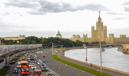evening embankment of river Moscow