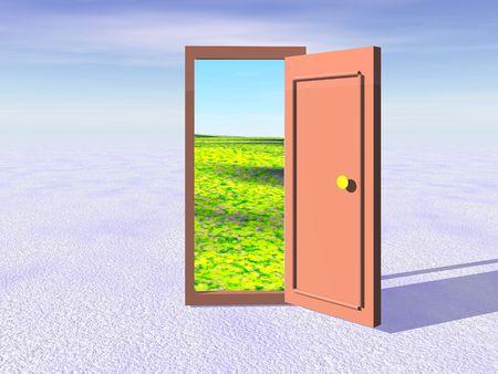 way from winter to summer through open door photo