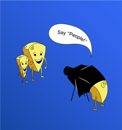 say cheese: Some pieces of cheese from the parallel universe take photos and say people