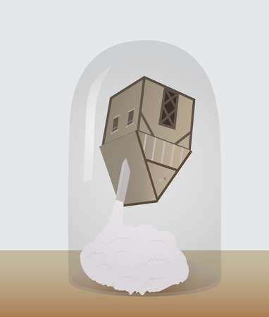 A house upside down on a cloud under a glass dome Illustration