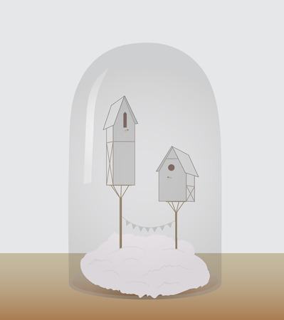 starling: Bird houses under a glass dome. Vector illustration