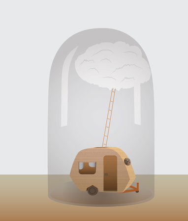 inverse: A motorhome under a glass dome. Vector Illustration