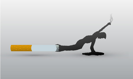A cigarette from which smoke comes out in the form of a suffocating man Illustration