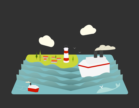 fishing village: Color vector flat icon set and illustration summertime: village, sun, clouds, trees nature, sea, boat, sail, fishing