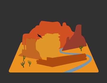 Flat landscape Mountain desert background vector wallpaper illustration