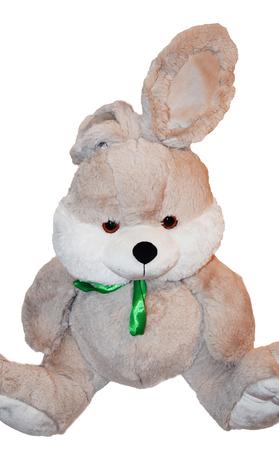 Toy grey rabbit isolated on white background Stock Photo