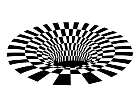 Abstract black and white checkered hole. Vector illustration Illustration