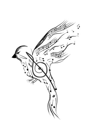 Bird with smaller musical notes isolated on white background Vector illustration