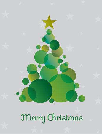 Rbol de Navidad hecho círculos verdes rodeados de estrellas. Ilustración vectorial Foto de archivo - 90743754