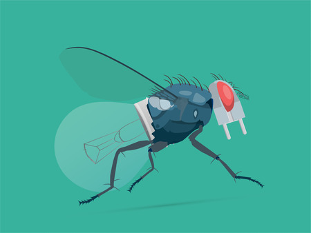 A symbiose concept of a fly and a light bulb. Vector illustration