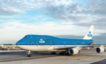 NEW YORK CITY - JULY, 12: KLM Boeing 747 on JFK Airport on July 15, 2012 in New York. Koninklijke Luchtvaart Maatschappij N.V. (Royal Aviation Company), known by its initials KLM, is the flag carrier airline of the Netherlands.