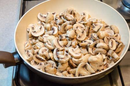 Mushrooms on the pan photo