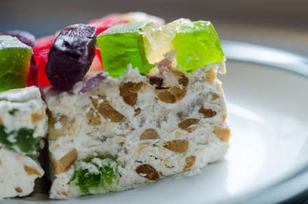 Nougat with marmalade and nuts photo