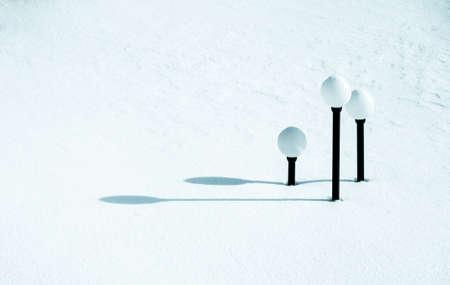 frost bound: Streetlights under snow
