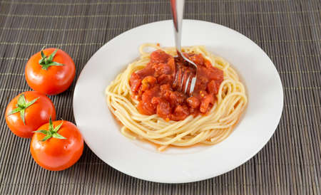 Pasta with bolognese sauce photo