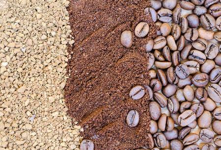 freeze dried: Caf� Los granos de caf�, molido y liofilizado