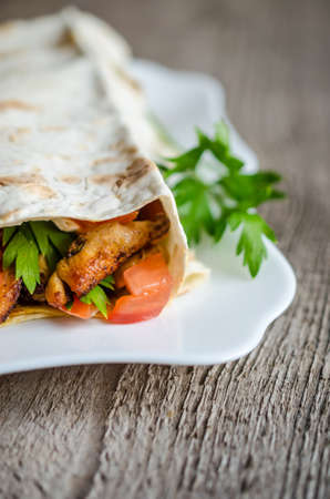 Tortilla with meat and vegetables Stock Photo - 21073053