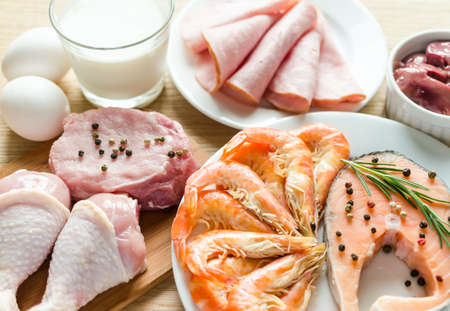 fish meat: ingredients for protein diet Stock Photo