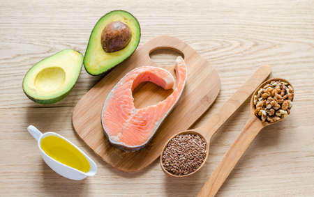 voedsel met onverzadigde vetten Stockfoto