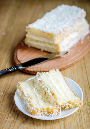 shredded coconut: angel food cake Stock Photo