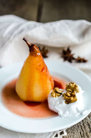 poached: poached pears Stock Photo